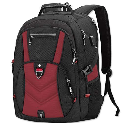 Laptop Rucksack Herren 18 Zoll Schulrucksack Jungen Teenager 18,4 USB Arbeit Business Wasserdicht Gross Notebook Rucksäcke für Männer (Rot-Plus)