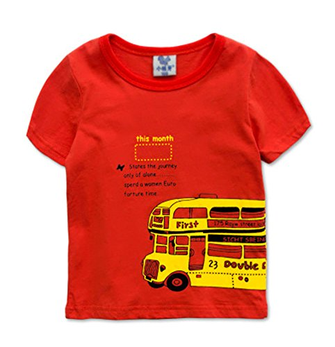 Mode T-shirt à manches courtes pour homme T-shirt pour garçon - Rouge - Taille Unique