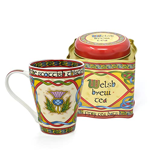 Royal Tara Set of 1 Scottish Thistle Celtic Mug and 1 Welsh Brew Tea 50 Teabags Blend of African and Indian Tea Net Weight: 125g Gross Weight: 295g