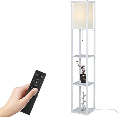 Tomshine Lampe sur pied avec étagère en bois avec télécommande 1,6 m (ampoule incluse et ampoule max. 100 W) [Classe énergétique A+] (blanc)
