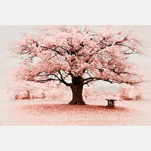 DIY 5D Diamond Painting Kit Pink Flower Tree for Adults & Kids Full Drill Diamond Embroidery DIY Embroidery Cross Stitch for Home Wall Decor 12x16 inch(Frameless)