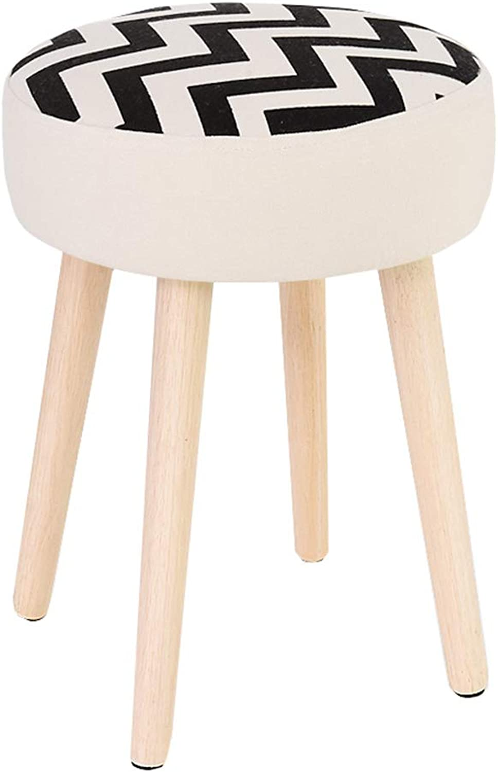 Home Change shoes Stool Cartoon Pattern Solid Wood Stool shoes shoes Fabric Sofa Stool Nordic Simple Art Creative (Pattern    3)