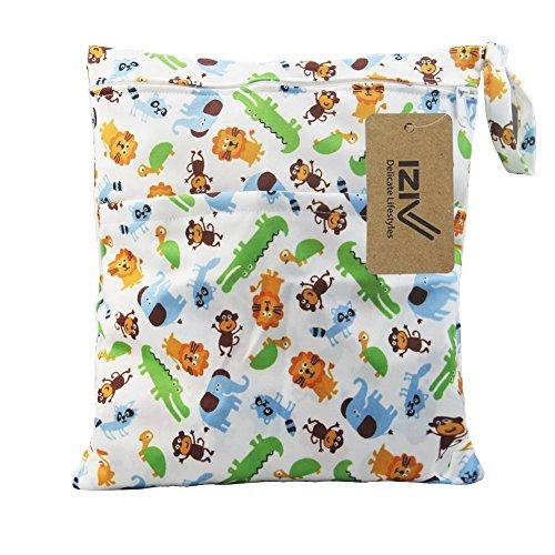 iZiv Wasserdichtes Baby Wiederverwendbare Nass und Trocken Windel Beutel Organisator Beutel 2 Reißverschluss Printing Wickeltasche (Tier)