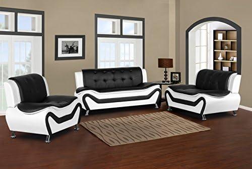 US Pride Furniture S5411 3PC Leather Club Living Room Sofa Set Black White product image