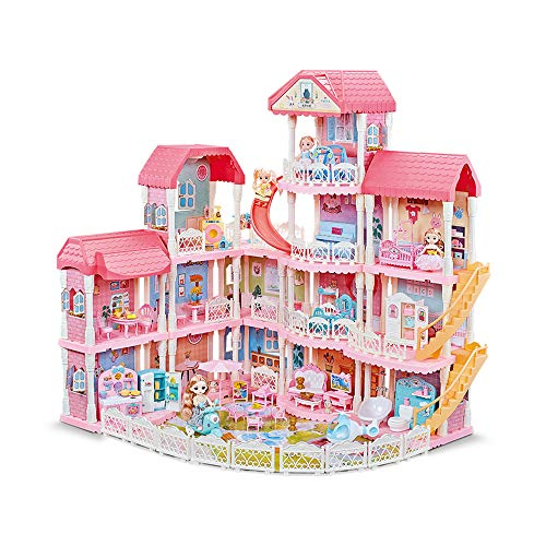 Dollhouse with Furniture Accessories 15 Rooms Pretend Play Doll House...