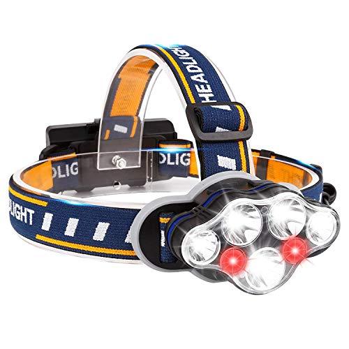 BETECK Linterna Frontal LED USB Recargable Alta Potencia 15000LM, Lámpara de Cabeza 7 LED 8 Modos IPX4 Impermeable para Camping, Pesca, Ciclismo, Carrera, Caza