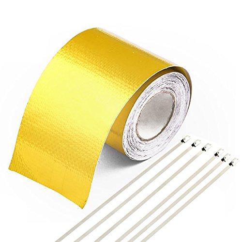 gogolo 16FT Gold Thermo Aluminium Folie Tape mit 6pcs Metall Spannreifen 5,1cm Breite selbstklebend für Auto LKW Motorrad Kanäle Motor Rohr Kochen Flue, etc.