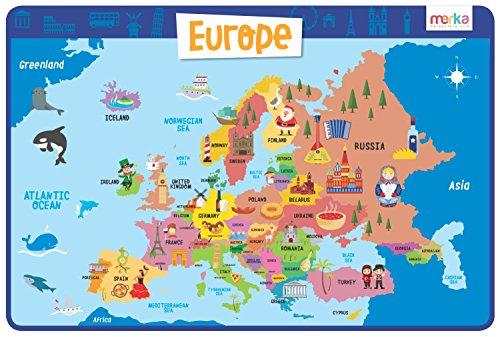 Lehrreiches Tischset Europa – Platzset Abwischbar und Rutschfest, Platzdeckchen Kinder