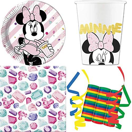JT-Lizenzen Minnie Mouse Premium 39-teiliges Kindergeburtstag Party Deko Set Motto Fete Feier 8 Teller, 8 Becher, 20 Servietten, 3 Rollen Luftschlangen