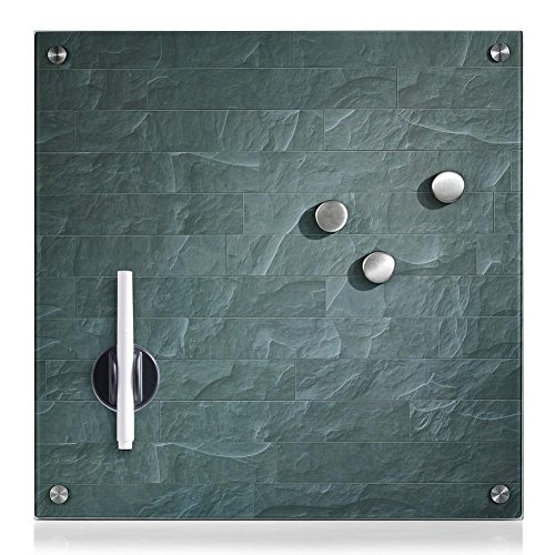 "Zeller 11644 Memobord \""Stonewall\"" aus Glas 40 x 40 cm anthrazit"
