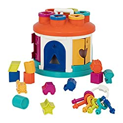 14-PIECES SHAPE SORTING HOUSE: Match the shapes of the blocks and pop them all in the house! Then unlock the doors with the right-coloured key and start all over again! LEARNING TOY: Learn colours, shapes and concepts like cause-and-effect; improve h...
