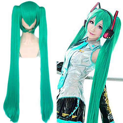 JoneTing Green Wigs for Women with 2 Ponytails Long Straight Wigs with Bangs Green Wigs for Lolita Wigs Synthetic Hair with 42 inches