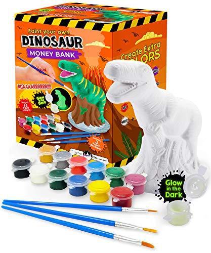 Original Stationery Malen Sie Ihre eigene Dinosaurier-Spardose-Bastelset mit Keramik T-Rex und spezieller Farbe die im Dunkeln leuchtet- Malsets für Kinder Besten Geschenke für Kinderen