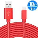 USB Type C Cable 10ft/3m, CC-Show Nylon Braided Fast Charger USB 2.0 High Speed Data Sync Cord for Samsung Galaxy Note 8/S8+,Pixel,Nexus,Nintendo Switch,MacBook, and More with Type C Port (Red)