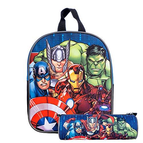 Kit Zainetto + Tombolino Marvel Avengers Per Bambini, Con Spallacci Regolabili e Schienale Imbottito, Perfetto Per Scuola e Tempo libero (Zaino + Tombolino)
