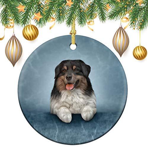 Albero di Natale di razza di cane pastore australiano albero di memoria rotondo ornamento, decorazione ricordo in ceramica, ornamenti per albero di Natale, palle di Natale pendenti