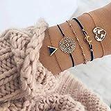 Edary Lot de 4 bracelets boho en perles et pierres précieuses noires, bracelet fait à la main, chaîne de main pour femmes et filles… (5)