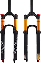 KRSEC 【US Stock 26/27.5/29 Air Rebound Adjust MTB Suspension Fork, Straight Tube 28.6mm QR 9mm Travel 100mm Crown Lockout Mountain Bike Forks, Gas Shock Absorber XC/AM/FR Bicycle