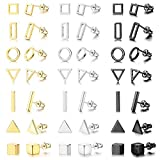 IRONBOX 21 Pairs Geometric Stud Earrings Stainless Steel Minimalist Earring Sets Simple Circle Triangle Square Bar Earrings for Women