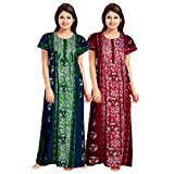 Mudrika Women's Cotton Abstract Print Maxi Nightdress (Pack of 2) (ComboNT_7892_Multicolor)