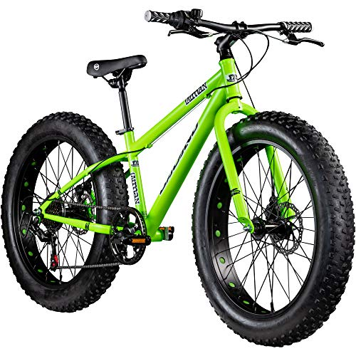 Galano Jugendrad 24 Zoll Fatbike Mountainbike Fatman 4.0 Fat Bike Jugendfahrrad (neongrün, 36 cm)