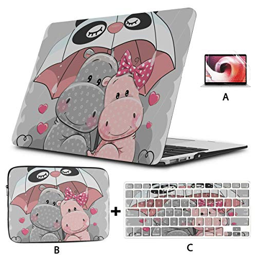 Case Macbook Pro 15 Colored Kid Favorite Animal Hippo 13 Macbook Case Hard Shell Mac Air 11'/13' Pro 13'/15'/16' With Notebook Sleeve Bag For Macbook 2008-2020 Version