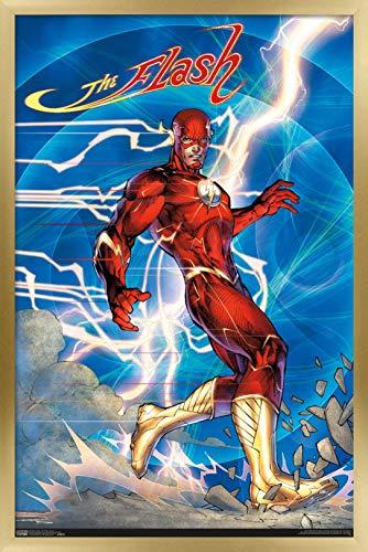 Trends International DC Comics - The Flash - Jim Lee Wall Poster, 22.375' x 34', Gold Framed Version