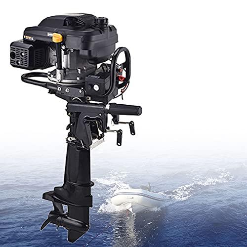 Motor Fueraborda Gasolina, 4 Tiempos Hélices de Motor para 3m-7m Barcos, Motores Fueraborda para Barcos con Marcha Atrás y Sistema de Enfriamiento de Aire, Arranque Eléctrico, Fácil de Operar