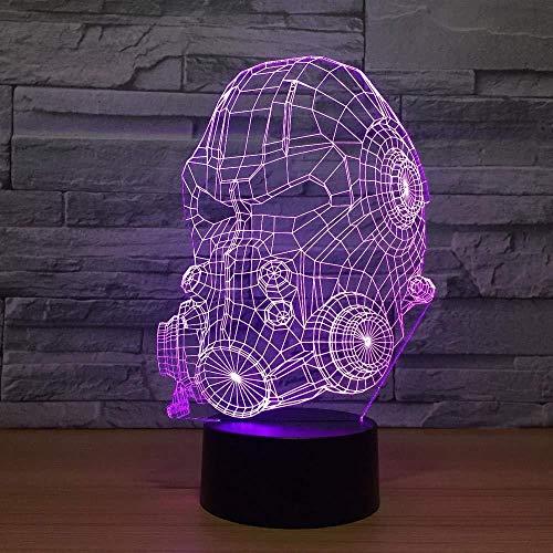 Cadeau voor jongens in tieners en ouderwetse 3D-lamp nachtlamp-gasmasker model 3D-ledlamp 7 kleuren veranderen van de USB-aanraaksensor touch-tafellamp USB-licht nachtsfeer, brandwerende lamp