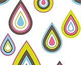 Papier peint années 70gouttes colorées tons forts à relief sur fond blanc en vinyle lavable...