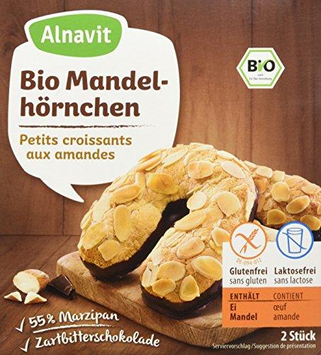 Alnavit Bio Mandelhörnchen Marzipan Gebäck mit Zartbitterschokolade, 150 g
