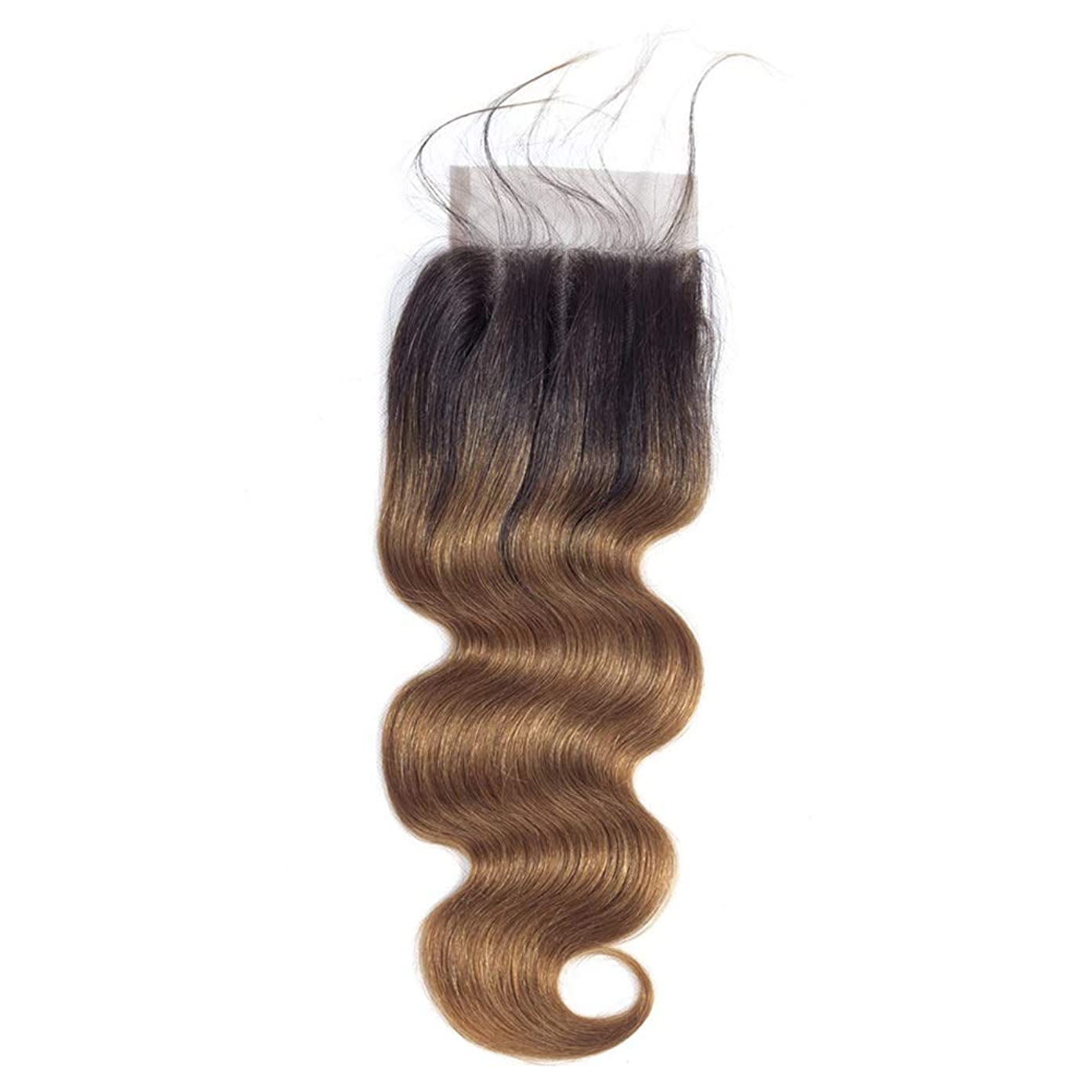 熱狂的なニュース正確にHOHYLLYA ブラジルの人間の髪の毛のレース前頭閉鎖4 x 4耳に耳1B / 30ブラウン2トーンカラー8