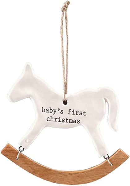 Mud Pie Merry Bright First Christmas Baby Rocking Horse Ornament