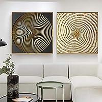 ファッション豪華なサークルキャンバス絵画黒と金のポスタープリント壁アート写真リビングルームダイニング装飾(40x40cm)X2フレームレス