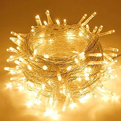 SANJICHA String Lights Indoor/Outdoor, Waterproof Christmas Lights Warm White, Safety Plug in String Lights 8 Modes Fairy Lights for Patio Wedding Garden Party Bedroom