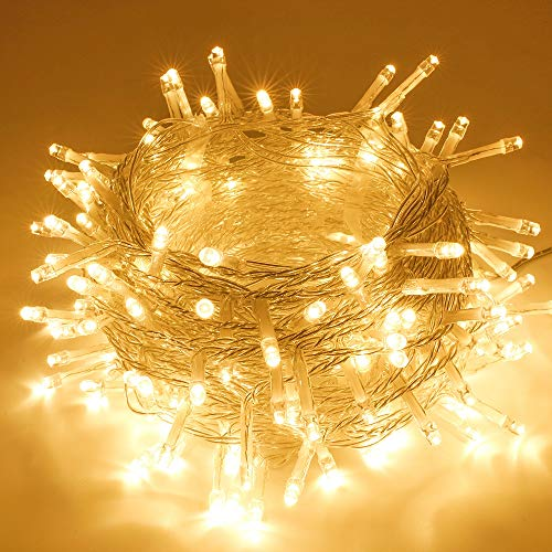 SANJICHA String Lights Indoor/Outdoor, Upgraded Super Bright Christmas Lights with 8 Modes, 66FT 200 LED Waterproof Decorative Lights for Christmas Tree Garden Patio Bedroom (Warm White)
