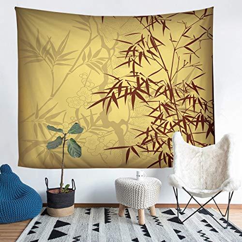 Loussiesd Tapiz con estampado de bambú para niñas y niños, ramas de bambú, para colgar en la pared, patrón de árbol, manta de pared estilo retro floral, decoración de pared grande, 122 x 189