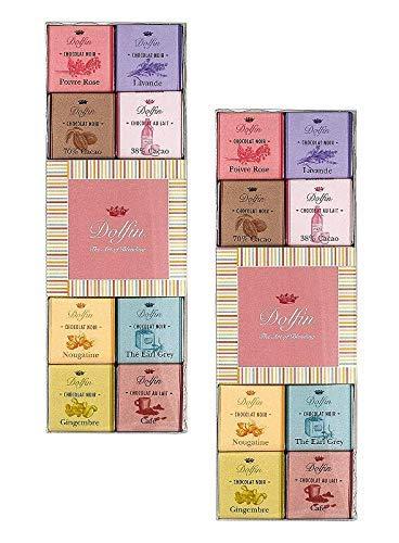 Dolfin Sortiment von 24 Carre Milchschokolade und dunkel: rosa Pfeffer, Lavendel, 70% Kakao, 38% Kakao, Nougatine, Earl Grey Tea, Ingwer, Kaffee — 2 x 108 Gramm