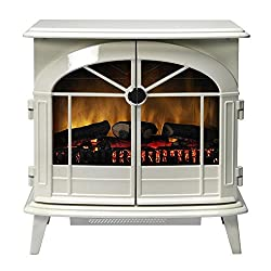 Authentic cast-iron style stove with a creamy white enamel effect finish Choice of Optiflame (with real coals) and Optiflame log effect 2kW fan heater with choice of two heat settings Thermostat - Opening doors -Remote control Flame effect can be use...