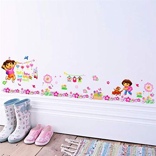 Cartoon Dora Aap Bloemen Baseboard muur Stickers voor Woonkamer muur Art Decoratieve Posters DIY Verwijderbare Decals Kids Gift