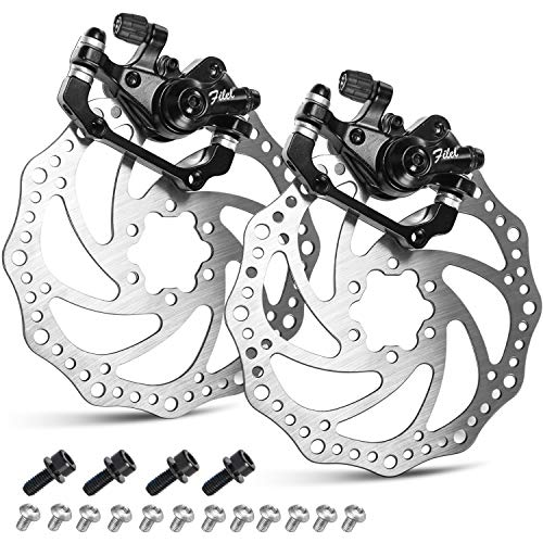 TOBWOLF 1 Pair MTB Front & Rear Cable Disc Brake Aluminum Alloy Caliper Post Mount, 2PCS 160mm Stainless Steel 6-Bolt Disc Rotors for Mountain Bike, Road Bike, Folding Bike, BMX