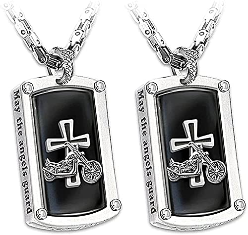 Duyifan Bikers Blessing Engraved Pendant Necklace, Men's Punk Hip Hop Pendant Motorcycle Cross Necklace, Stainless Steel Bike Riders Pendant Neck Chain, for Boys Girls Neck Chain Jewelry Gift