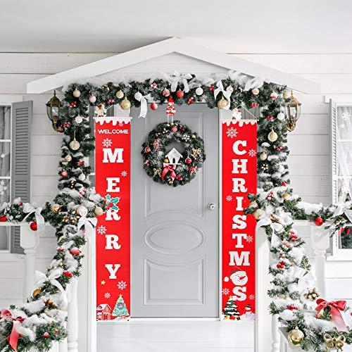 Aipaide Frohe Kerstmis banner rode kerst hangende teken kerstversiering binnen buiten kerstdecoratie voor party thuis muur deur raam
