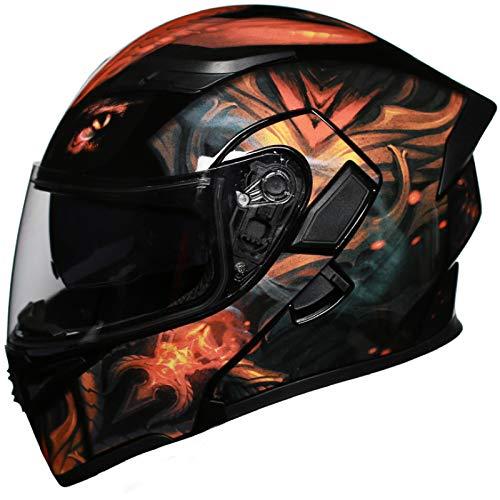 Balscw Full-face Motorrad-Helm Code Motorradhelm Klapphelm Und Anti-Fog Hd Doppellinse Pedal Chopper Integralhelm Helm Motorradhelm,Black-M(54-57cm