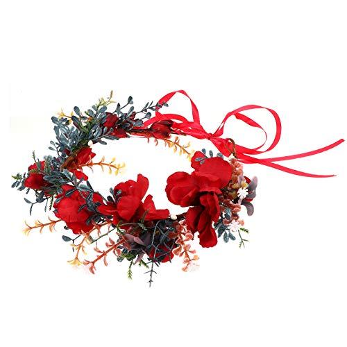 Lurrose Corona Floral Decoraciones Navideñas Cinta Boho Corona de Flores Corona de...