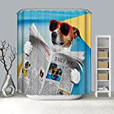 Rubyia Duschvorhang 150x180, H& Mit Sonnenbrille Lesung Zeitung 3D Muster Badewannen Duschvorhang, Blau