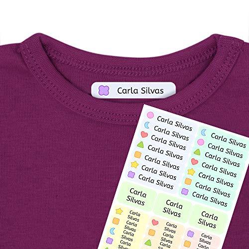 Etiquetas termoadhesivas personalizadas con tu texto | Etiquetas para la ropa, con dibujos y texto personalizado. 40 U. en hoja laminada FUNNY SHAPES