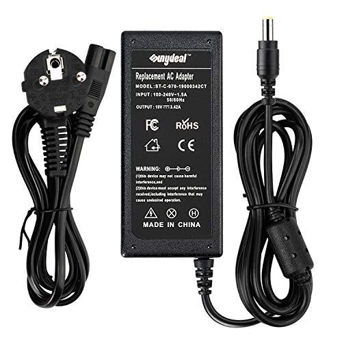 Sunydeal - Cargador Adaptador 65W para Ordenador Portátil ACER, 19V 3.42A, 5.5x1.7mm , Compatible con Acer Aspire/Travelmate/Extensa
