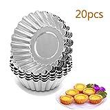Wonepic 20pcs Egg Tart Aluminium Kuchen-Kuchen-Plätzchen-Form-ausgekleidete Form Tin Backförmchen