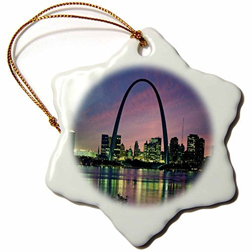 cwb2jcwb2jcwb2j 3-Inch Porcelain Snowflake Decorative Hanging Ornament, St Louis Missouri Arch At Nite